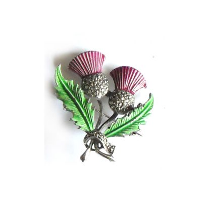 Marcasite and enamel thistle brooch