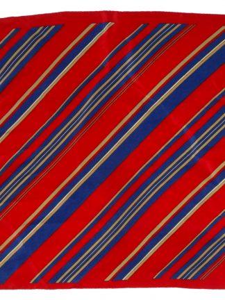 Dark red silk pocket square with stripe design