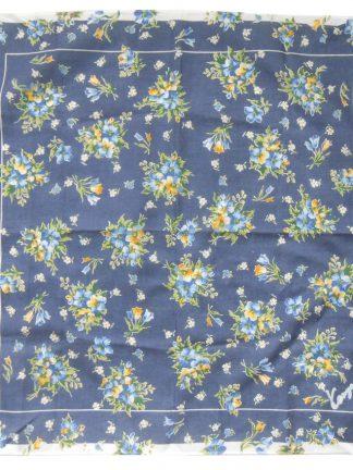 Blue floral design cotton pocket square