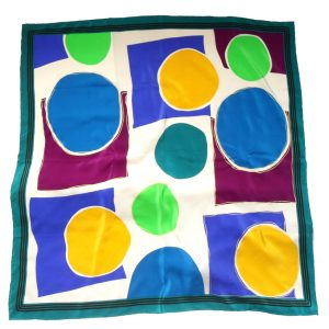 Brightly coloured circle design silk scarf
