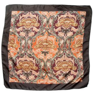 Liberty silk scarf with dark brown border and a design in autumnal shades