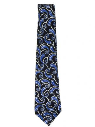 Turnbull and Asser blue and white paisley design silk tie