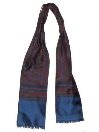 Silk cravat made in Italy with a blue border