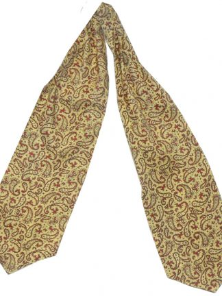 Tootal cravat with a yellow background and a red paisley design